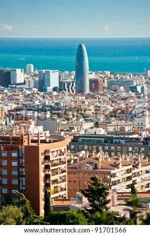 View of barcelona from Park Guell, Barcelona, Spain. - stock photo