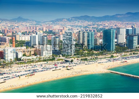 View of Barcelona from  the helicopter. Beach and New houses at Sant Marti  district - stock photo
