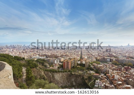 View of barcelona from Turo Rovira, Barcelona, Spain.