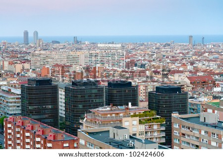 view of Barcelona in late blue evening