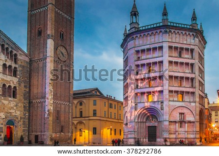 View of Battistero building illuminated in the night, Parma, Italy.