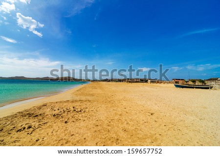 View of beach and sea in Cabo de la Vela in La Guajira, Colombia