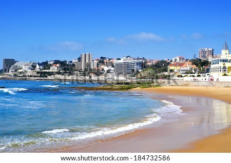 view of Beach of Tamariz in Estoril, Portugal - stock photo