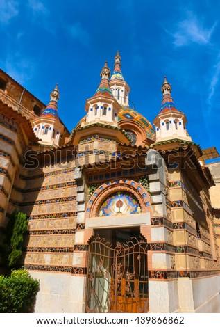 View of beautiful church Lloret de Mar, Spain. - stock photo
