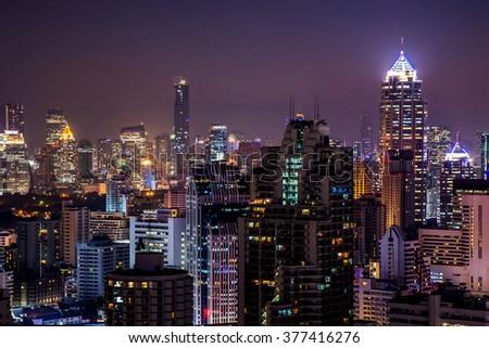 View of beautiful city, urban on the night. - stock photo