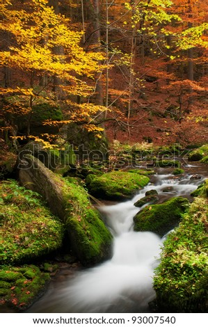 View of beautiful creek during the autumn time. - stock photo