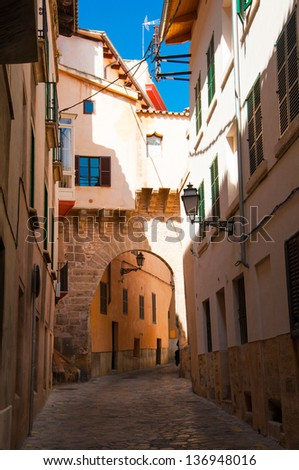View of beautiful generic catalonian street in Palma de Mallorca, spanish architecture - stock photo