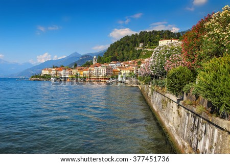 View of beautiful historic town at Como lake, Bellagio, Italy.