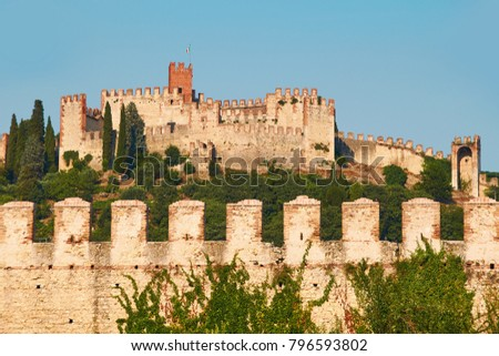 View of beautiful medieval town of Soave, Italy