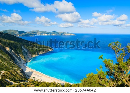 View of beautiful Myrtos bay and beach on Kefalonia island, Greece  - stock photo