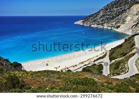 View of beautiful Myrtos bay road to beach, Kefalonia, Ionian islands, Greece - stock photo