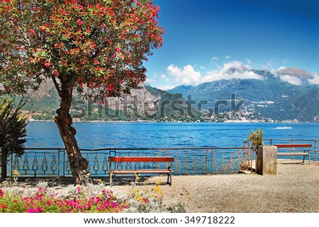 View of beautiful peaceful lake, Bellagio, Como lake, Italy. - stock photo