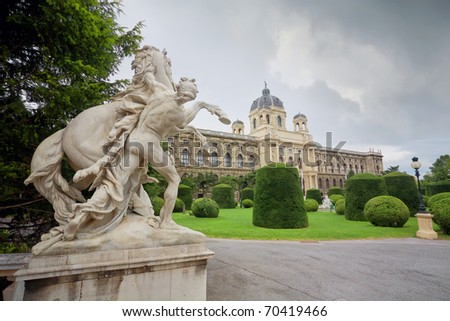 View of beautiful sculpture and Natural History Museum. Vienna. - stock photo