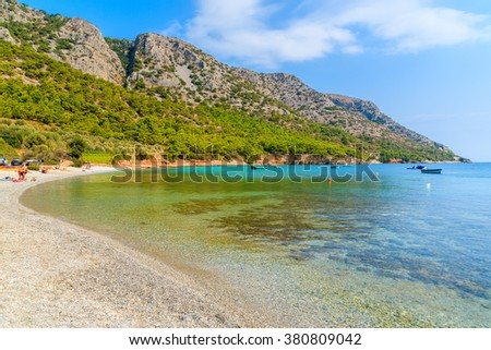 View of beautiful secluded beach on Samos island, Greece