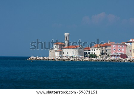View of beautiful Slovenian city: Piran