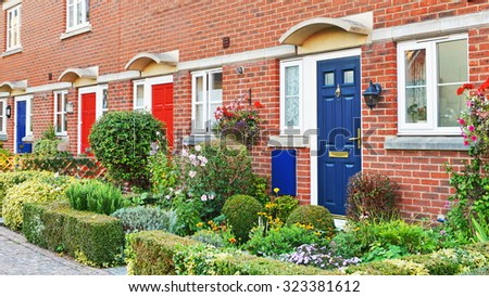 View of Beautiful Town Houses on a London Street - stock photo