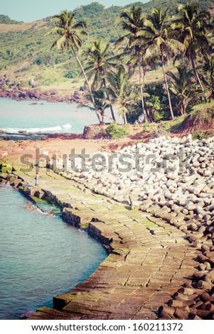 View of beautiful tropical Vagator beach, Goa, India  - stock photo