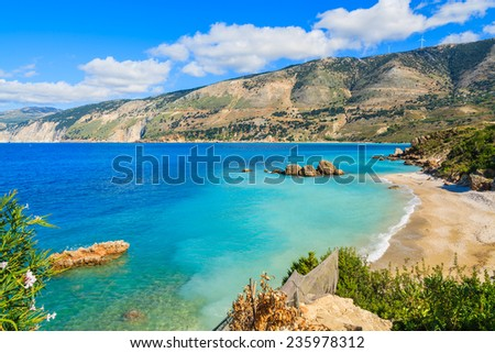 View of beautiful Vouti beach and bay with mountains near Zola village, Kefalonia island, Greece  - stock photo