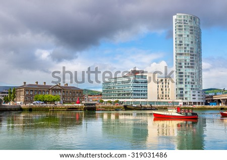 View of Belfast with the river Lagan - United Kingdom - stock photo