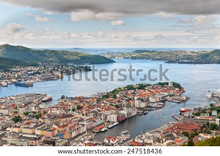 View of Bergen from Mount Floyen, Norway - stock photo
