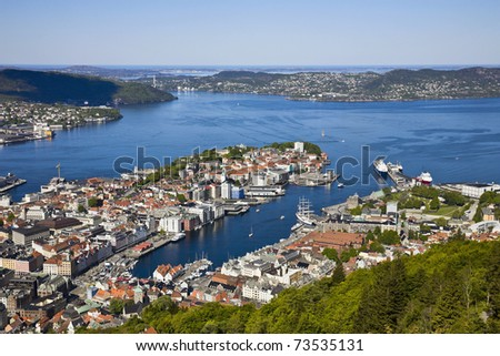 View of Bergen from Mount Floyen, Norway - stock photo