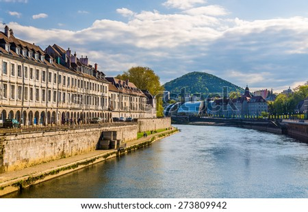 View of Besancon over the Doubs River - France - stock photo