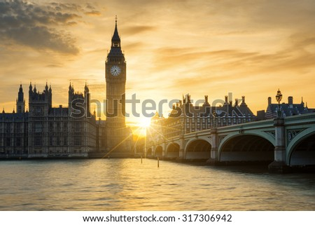 View of Big Ben clock tower in London at sunset, UK. - stock photo
