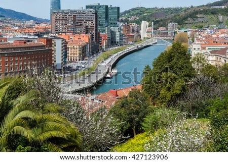 View of Bilbao city from Etxebarria park in Bilbao,Basque Country (Spain)