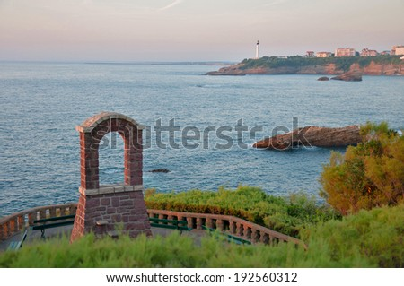 view of biscat bay at resort town of Biarritz, France - stock photo