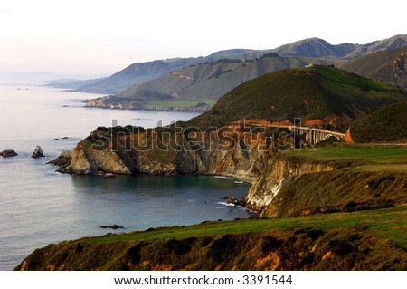 View of Bixby Bridge From Highway One Looking To The North - stock photo