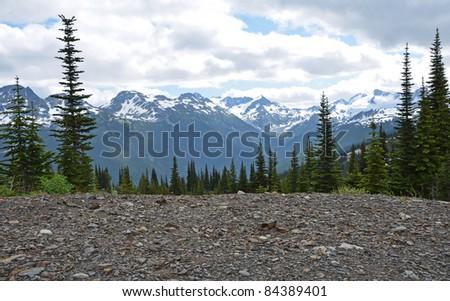 View of Blackcomb mountain from Whistler Mountain - stock photo