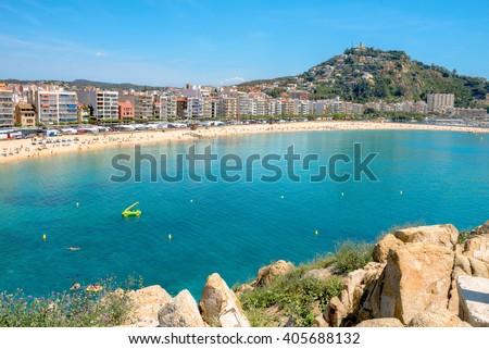 View of Blanes beach. Costa Brava, Catalonia, Spain - stock photo