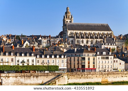 View of Blois with Cathedral, Loir-et-Cher, France. - stock photo