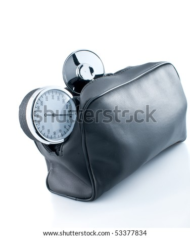 View of blood pressure monitor on white background.Health control