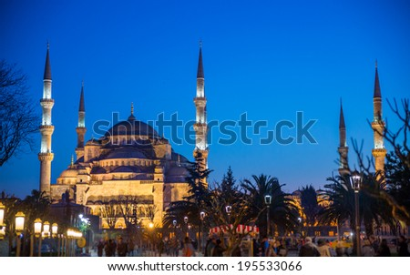 View of Blue mosque from Hagia Sophia in Istanbul at sunset, Turkey - stock photo