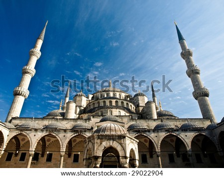 View of Blue Mosque (Sultan Ahmet) in Istanbul, Turkey - stock photo