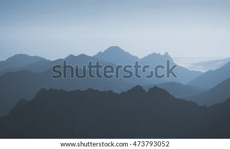 View of blue mountains abstract background. 3D illustration