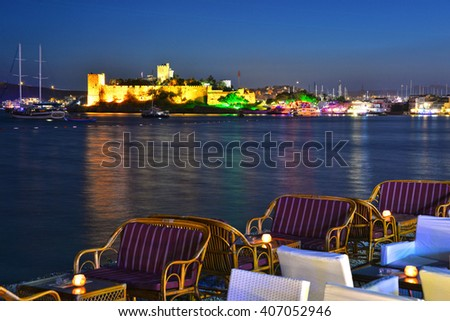 View of Bodrum harbor and Castle of St. Peter by night. Turkish Riviera. - stock photo