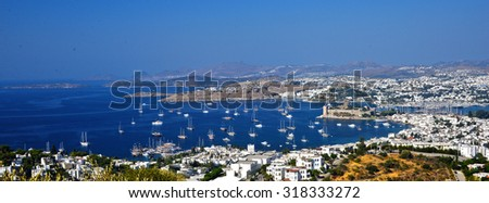 View of Bodrum harbor and Castle of St. Peter. Turkish Riviera. - stock photo