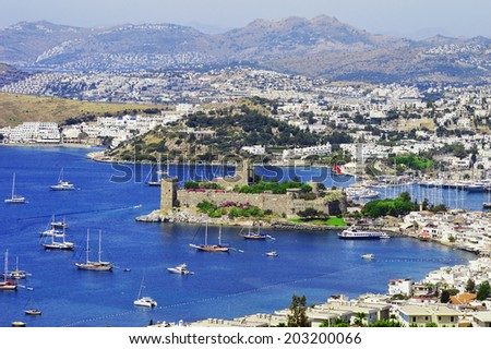 View of Bodrum harbor during hot summer day. Turkish Riviera. - stock photo