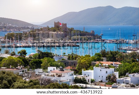 View of Bodrum, Marina Harbor and ancient castle in Aegean sea in Turkey