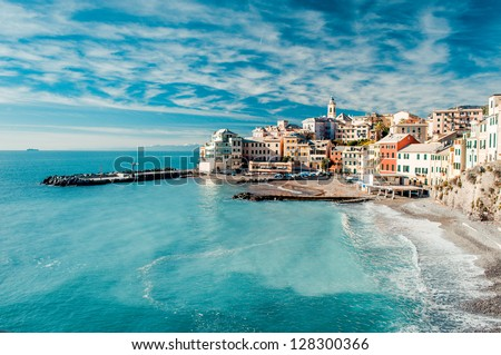 View of Bogliasco. Bogliasco is a ancient fishing village in Italy - stock photo