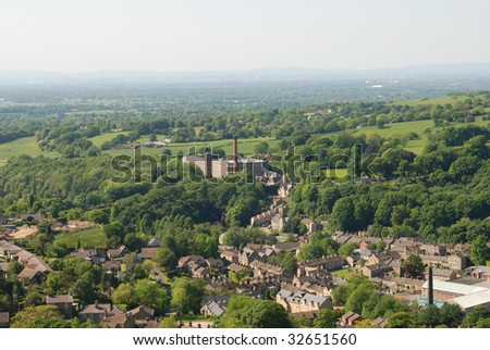 View of Bollington, Cheshire from above - stock photo