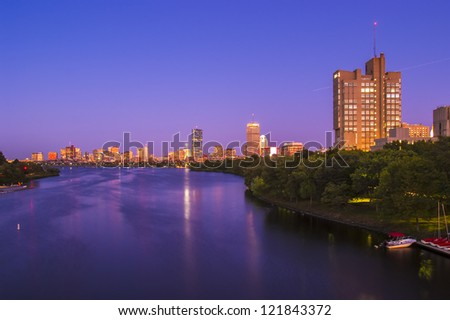View of Boston, Cambridge, Harvard Boathouse, Charles River - stock photo