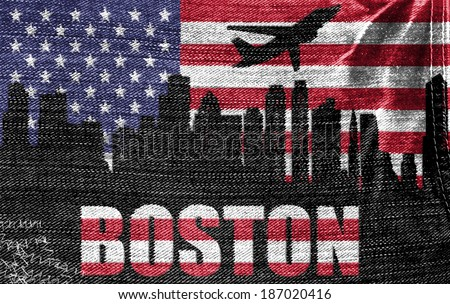 View of Boston City on the American flag on the jeans texture - stock photo