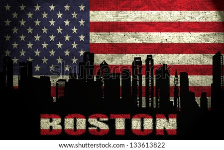 View of Boston City on the Grunge American Flag - stock photo