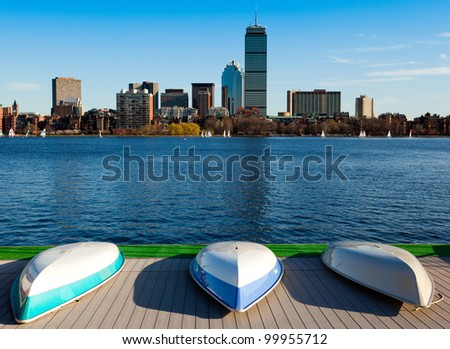 View of Boston in Massachusetts, USA by the Charles River bed on a sunny and warm spring day. - stock photo