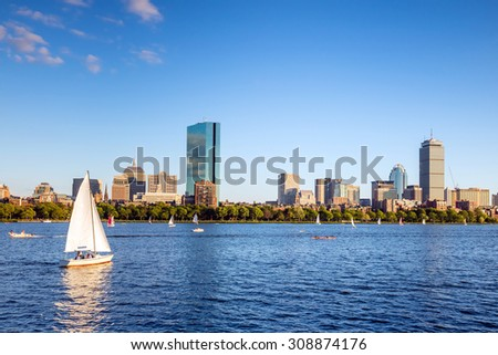 View of Boston Skyline in summer afternoon - stock photo