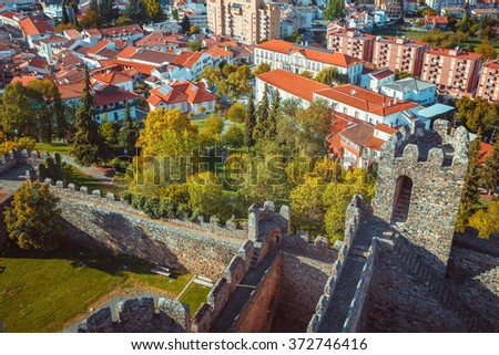 View of Braganza in Portugal from the historical castle. - stock photo