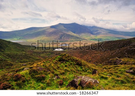 view of Brandon Mountains from Conor Pass, Co.Kerry, Ireland - stock photo